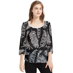 Fallen Leaves Chiffon Quarter Sleeve Blouse