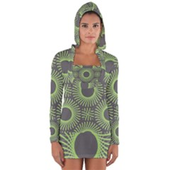 Green Spiky Rings Long Sleeve Hooded T-shirt by Lotus