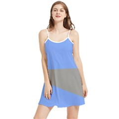 Blue And Gray Saw Summer Frill Dress by Lotus