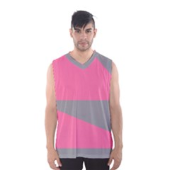 Pink And Gray Saw Men s Basketball Tank Top