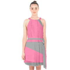 Pink And Gray Saw Halter Collar Waist Tie Chiffon Dress