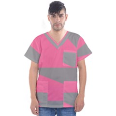 Pink And Gray Saw Men s V-neck Scrub Top