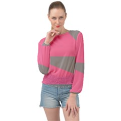 Pink And Gray Saw Banded Bottom Chiffon Top