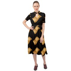 Video Tape Keyhole Neckline Chiffon Dress