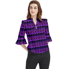 Violet Retro Loose Horn Sleeve Chiffon Blouse