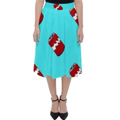 Soda Cans On Blue Classic Midi Skirt by Lotus