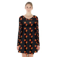Kawaii Pumpkin Black Long Sleeve Velvet V-neck Dress
