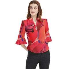 Red Paint Loose Horn Sleeve Chiffon Blouse