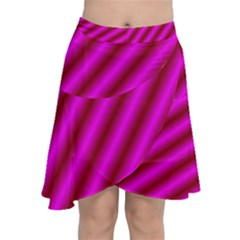 Pink Diagonal Lines Chiffon Wrap Front Skirt by Lotus