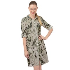 Pale Tropical Floral Print Pattern Long Sleeve Mini Shirt Dress
