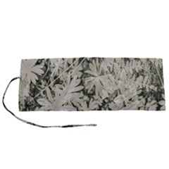 Pale Tropical Floral Print Pattern Roll Up Canvas Pencil Holder (s)