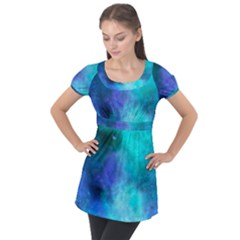 Blue Galaxy Puff Sleeve Tunic Top