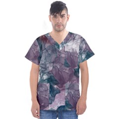 Teal And Purple Alcohol Ink Men s V-neck Scrub Top