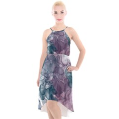 Teal And Purple Alcohol Ink High-low Halter Chiffon Dress