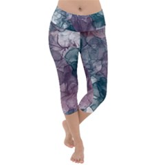 Teal And Purple Alcohol Ink Lightweight Velour Capri Yoga Leggings