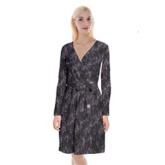 Pink Gray Galaxy Long Sleeve Velvet Front Wrap Dress