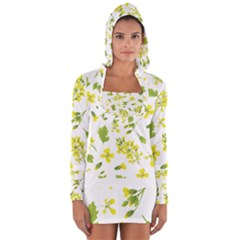 Yellow Flowers Long Sleeve Hooded T-shirt