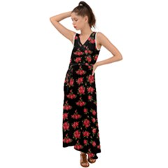 Red Roses V-neck Chiffon Maxi Dress