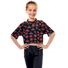 Red Roses Kids Mock Neck Tee