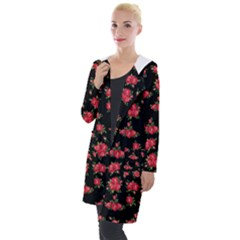 Red Roses Hooded Pocket Cardigan