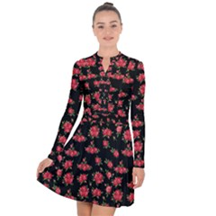 Red Roses Long Sleeve Panel Dress