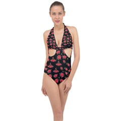 Red Roses Halter Front Plunge Swimsuit