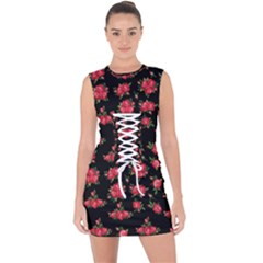 Red Roses Lace Up Front Bodycon Dress