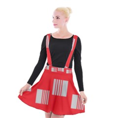 Gray Squares On Red Suspender Skater Skirt by Lotus