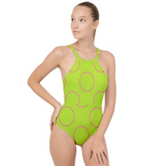 Pink Circles On Green High Neck One Piece Swimsuit