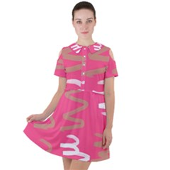Doodle On Pink Short Sleeve Shoulder Cut Out Dress
