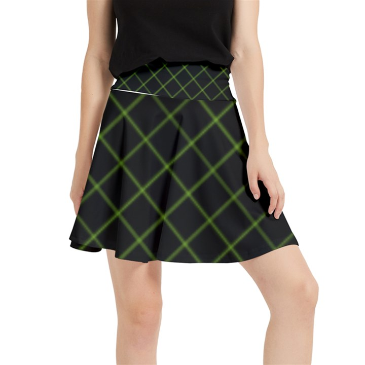 Green Net on black Waistband Skirt