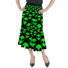 We Are Watching You! Aliens Pattern, Ufo, Faces Midi Mermaid Skirt