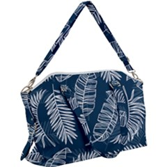 Blue Leaves Canvas Crossbody Bag