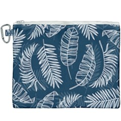 Blue Leaves Canvas Cosmetic Bag (xxxl) by goljakoff