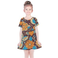 Butterfly And Flowers Kids  Simple Cotton Dress by goljakoff
