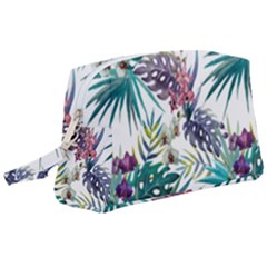 Tropical Flowers Pattern Wristlet Pouch Bag (large)