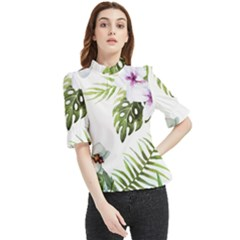 Flowers Frill Neck Blouse