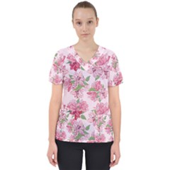 Rose Flowers Women s V-neck Scrub Top