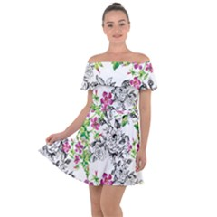 Flowers Off Shoulder Velour Dress by goljakoff