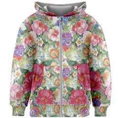 Beautiful Flowers Kids  Zipper Hoodie Without Drawstring