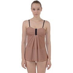 Antique Brass Brown & Black -  Babydoll Tankini Set by FashionLane