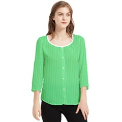 Algae Green & Black -  Chiffon Quarter Sleeve Blouse