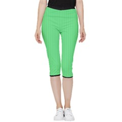 Algae Green & Black -  Inside Out Lightweight Velour Capri Leggings  by FashionLane