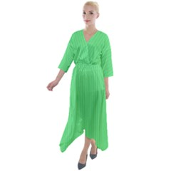 Algae Green & Black -  Quarter Sleeve Wrap Front Maxi Dress by FashionLane