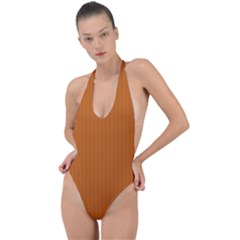 Alloy Orange & Black - Backless Halter One Piece Swimsuit by FashionLane