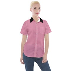 Amaranth Pink & Black - Women s Short Sleeve Pocket Shirt