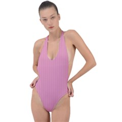Amaranth Pink & Black - Backless Halter One Piece Swimsuit by FashionLane