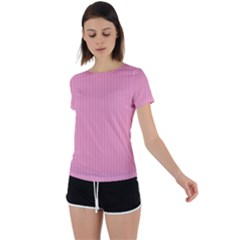Amaranth Pink & Black - Back Circle Cutout Sports Tee