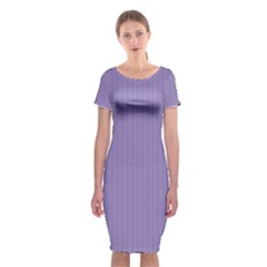 Bougain Villea Purple & Black - Classic Short Sleeve Midi Dress by FashionLane