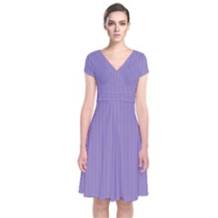 Bougain Villea Purple & Black - Short Sleeve Front Wrap Dress by FashionLane